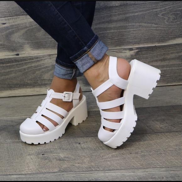 ee82af3e948 White Closed Toe Gladiator Platform summer sandal